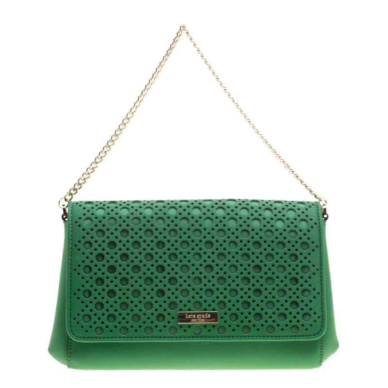 Kate Spade Green Leather Newbury Lane Laser Cut Flap Shoulder Bag