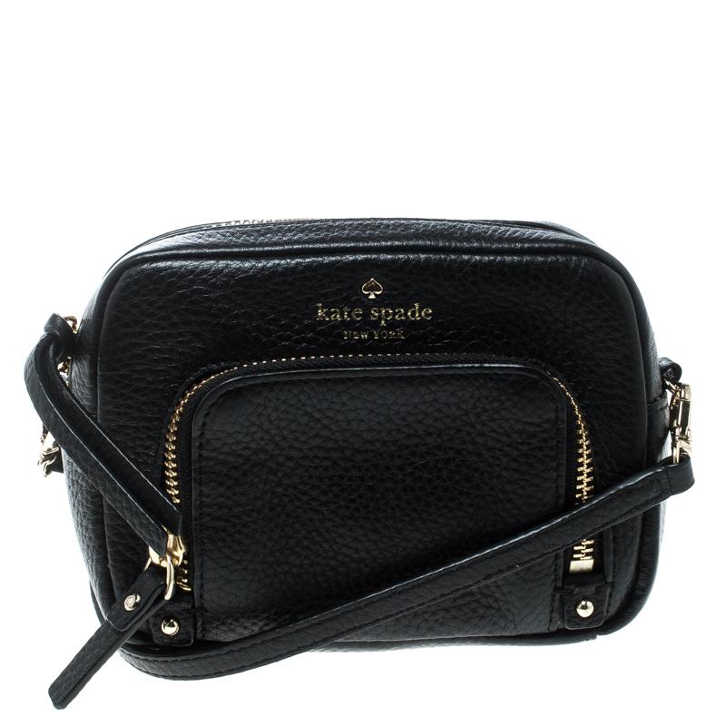 58559e1d16638 Buy Kate Spade Black Leather Crossbody Bag 167066 at best price