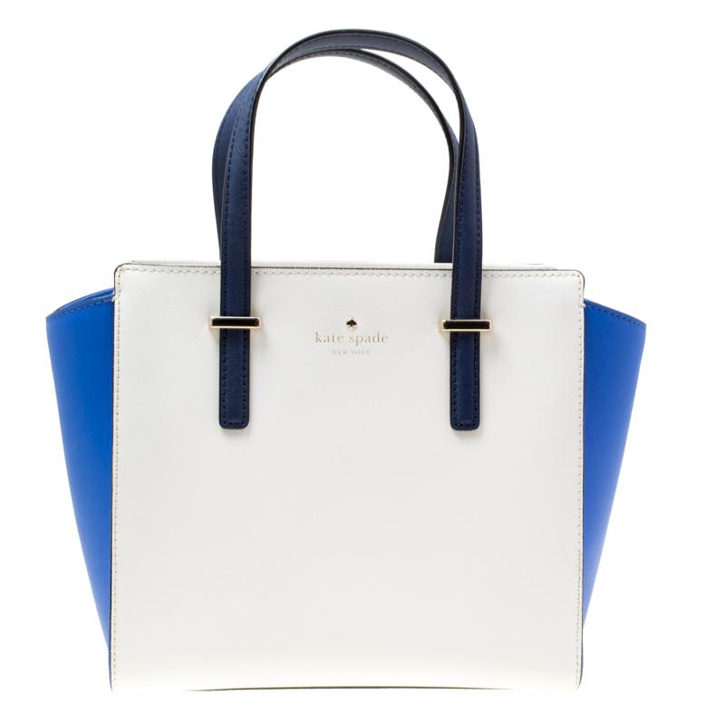 Kate Spade White Blue Leather Small Cedar Street Hayden Top Handle Bag