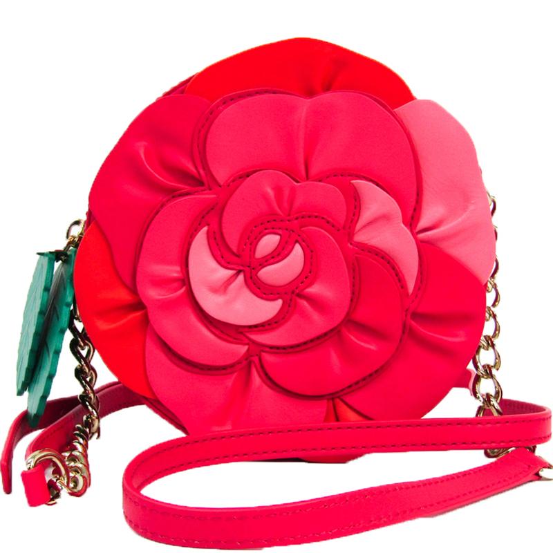 Kate Spade Red Coated Leather Rambling Rose Crossbody Bag