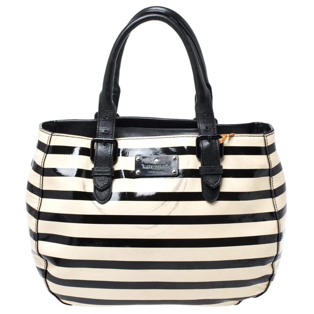 Pre Owned Kate Spade Black White Patent Leather Stripe Tote Modesens