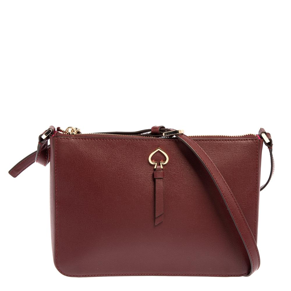 Pre-owned Kate Spade Burgundy Leather Medium Adel Top Zip Bag