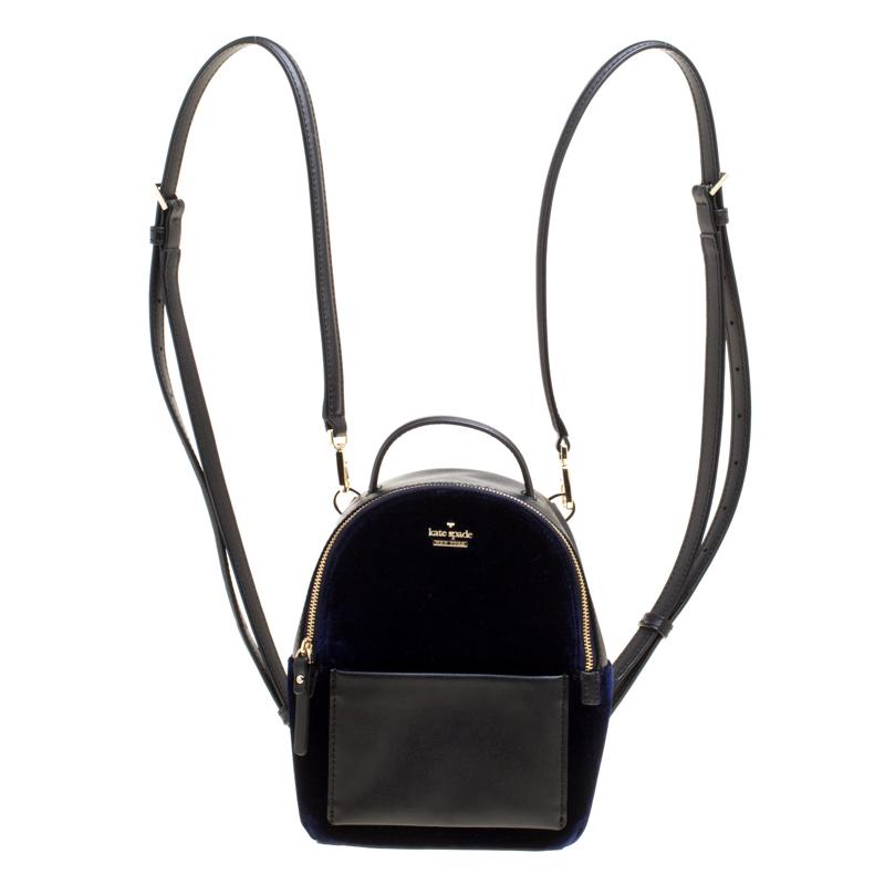 044e92b0e ... Kate Spade Black/Blue Leather and Velvet Mini Watson Lane Merry Backpack.  nextprev. prevnext