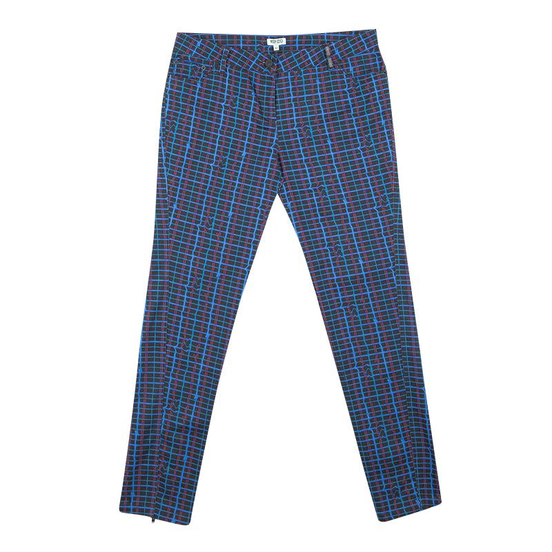 Купить со скидкой Kenzo Jungle Multicolor Irregular Check Printed Denim Jeans M