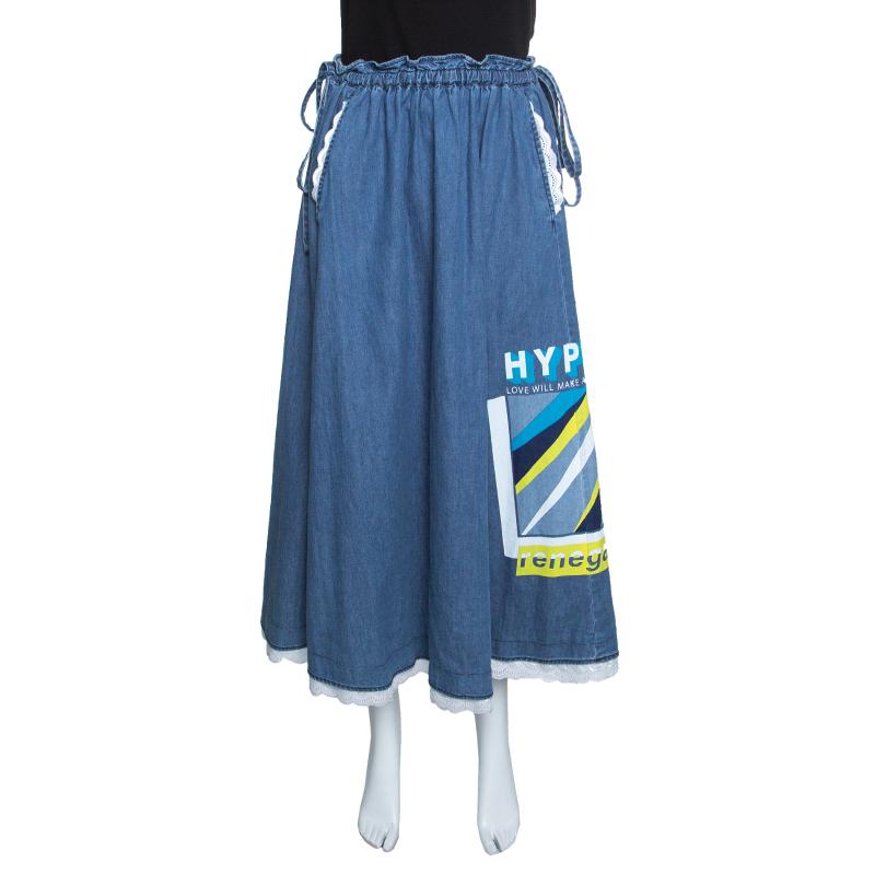 Kenzo Indigo Lace Trim Tie Detail Hyper Denim Skirt S