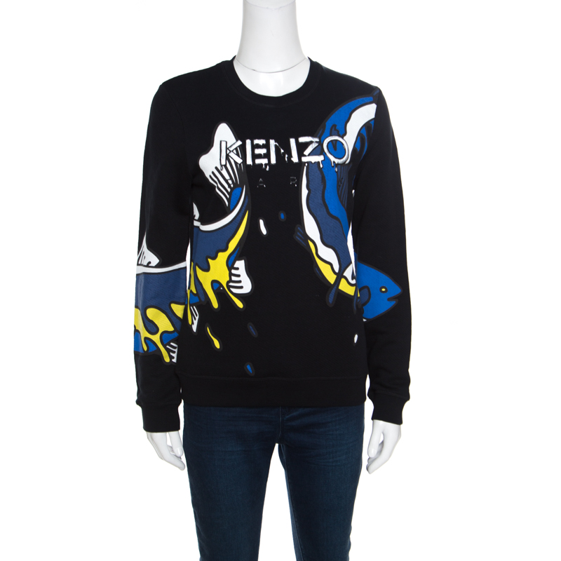 67e42c157da Buy Kenzo Black Koi Fish Printed Cotton Long Sleeve Sweatshirt M ...