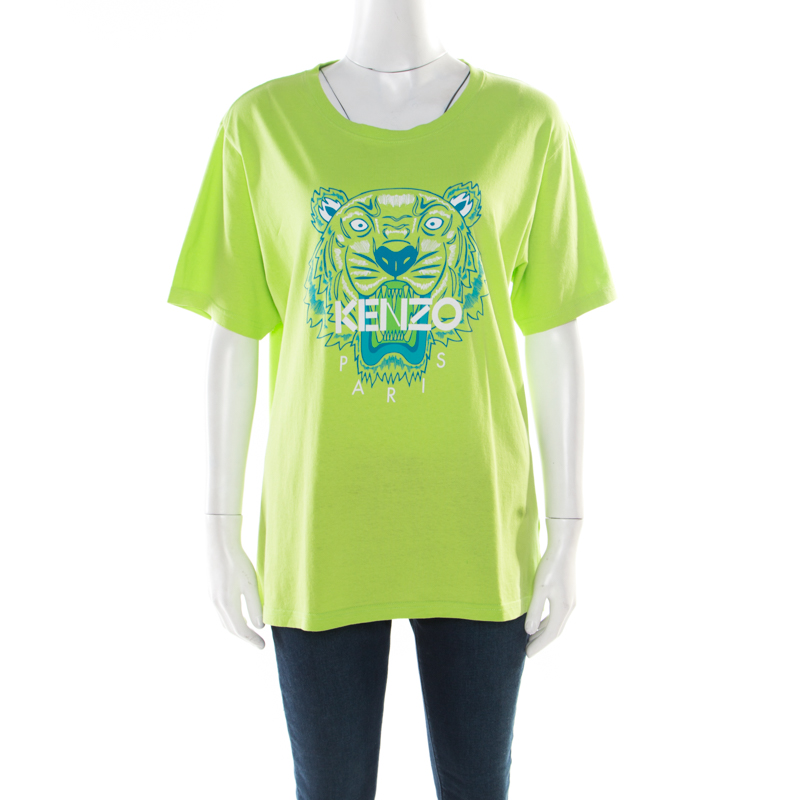 aca6ef1a ... Kenzo Jungle Leaf Green Logo Printed Cotton Short Sleeve T-Shirt L.  nextprev. prevnext