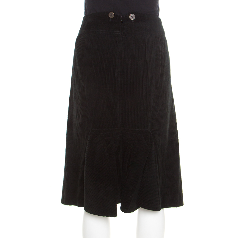 aa1f40c8 Kenzo Black Corduroy Ruffled Back Detail Skirt L
