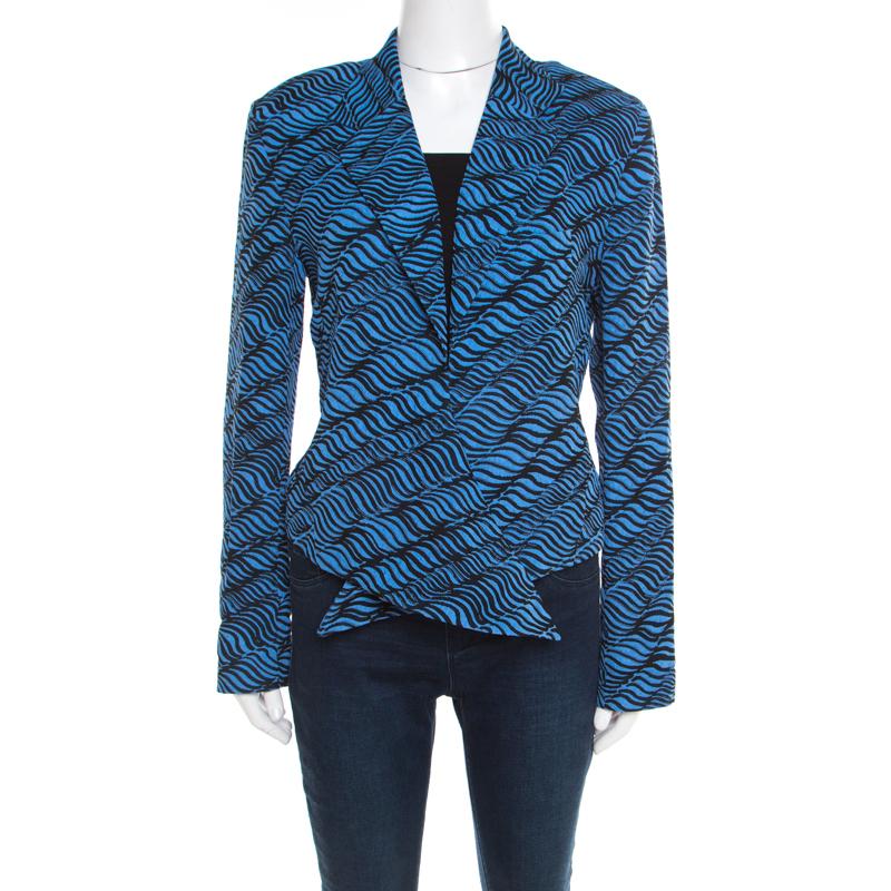 c32d7995 Buy Kenzo Blue and Black Animal Striped Jacquard Waist Tie Detail ...