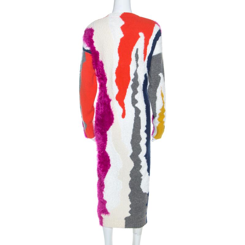 Kenzo Multicolore Mixte Texture De La Robe En Maille L