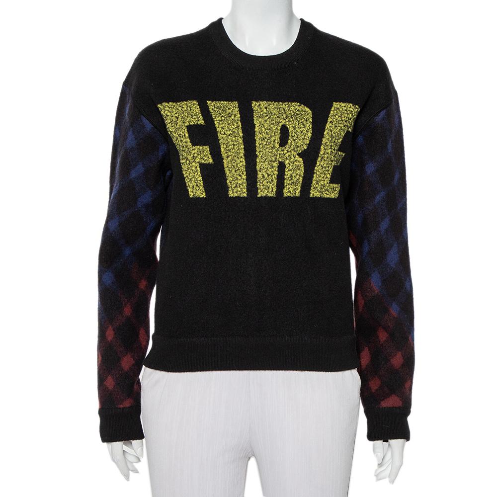 Pre-owned Kenzo Black Wool Fire Printed Zip Detail Sweater L