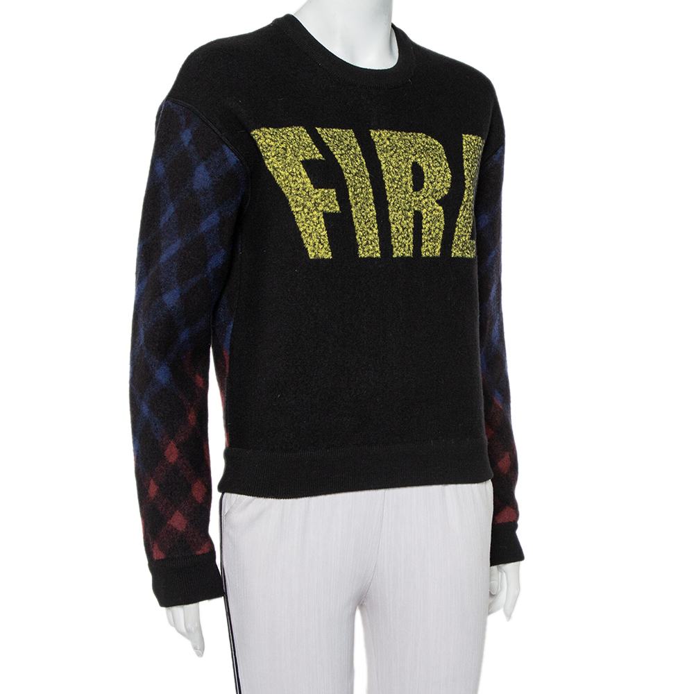 Kenzo Black Wool Fire Printed Zip Detail Sweater L
