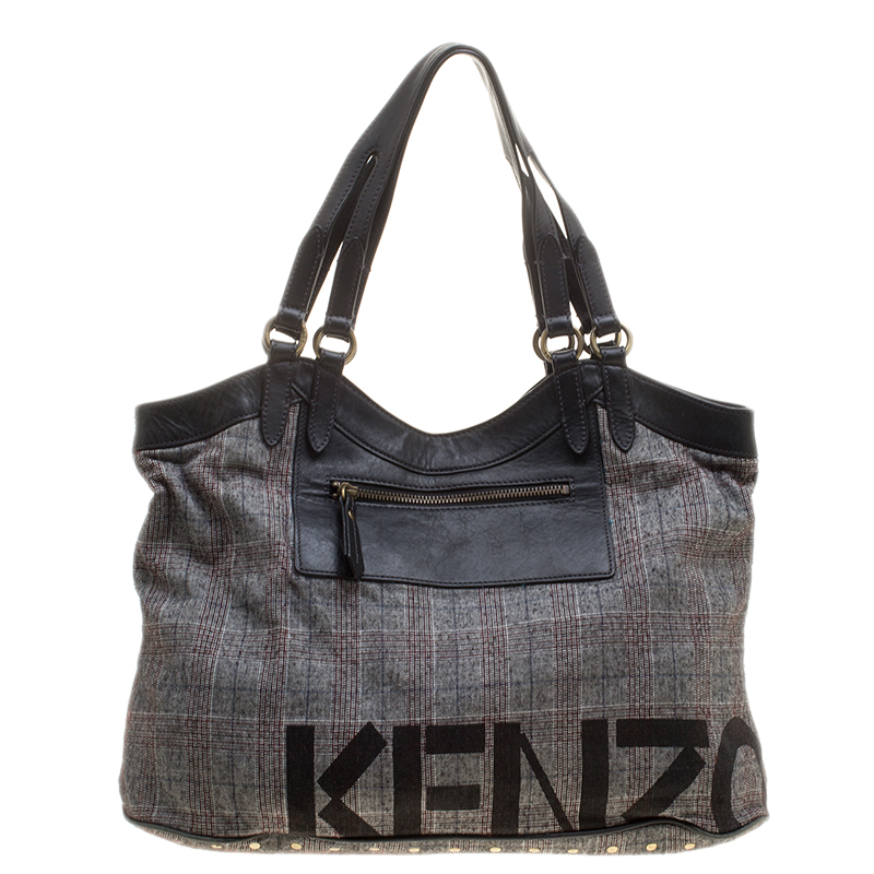 b0a09b3534 Kenzo Grey/Black Fabric and Leather Shoulder Bag