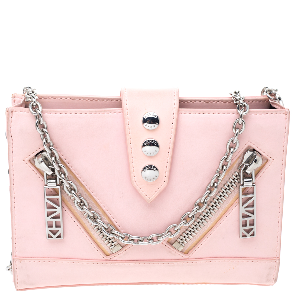 Pre-owned Kenzo Light Pink Leather Kalifornia Chain Shoulder Bag