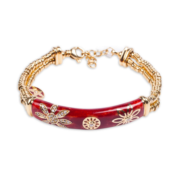 La Nouvelle Bague Red Enameled 18kt Yellow Gold and Silver Diamond Bracelet