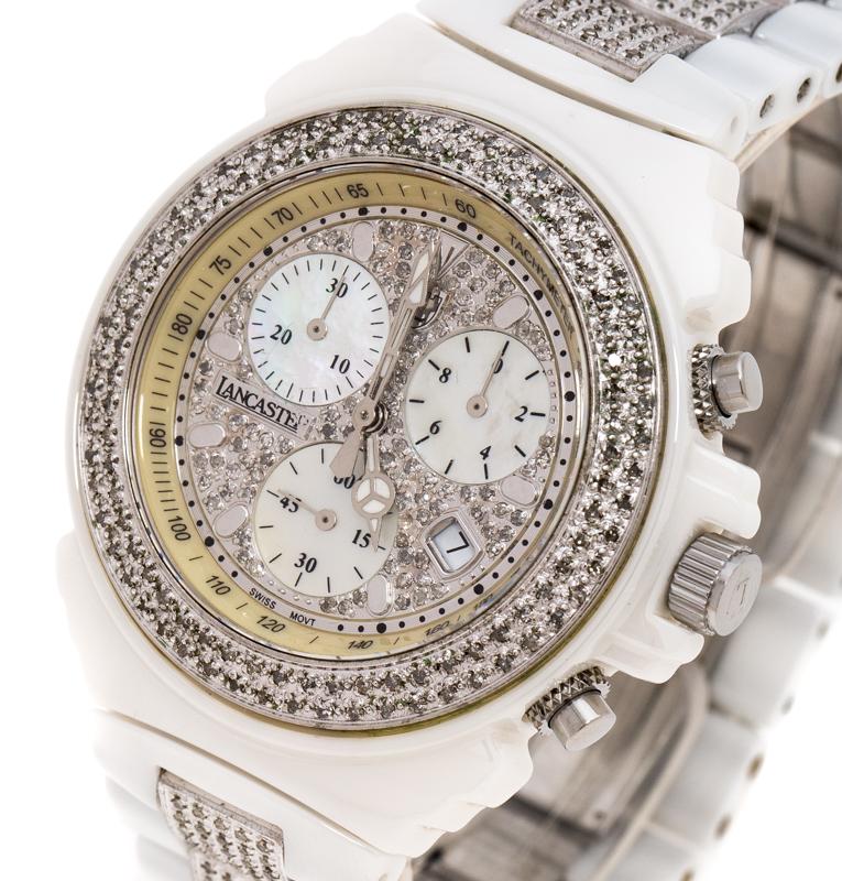 Lancaster en Nacre Diamant Ouvrir en Céramique Blanche Acier Inoxydable Réf.0293 Femmes montre-Bracelet de 40 mm