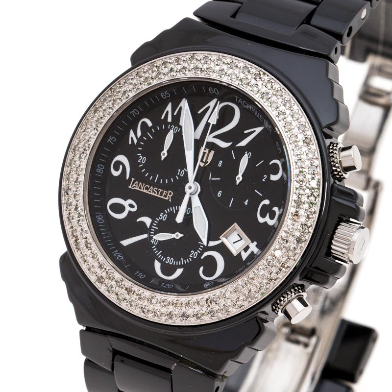 Lancaster En Céramique Noire Acier Inoxydable Réf.0285 Femmes montre-Bracelet de 39 mm