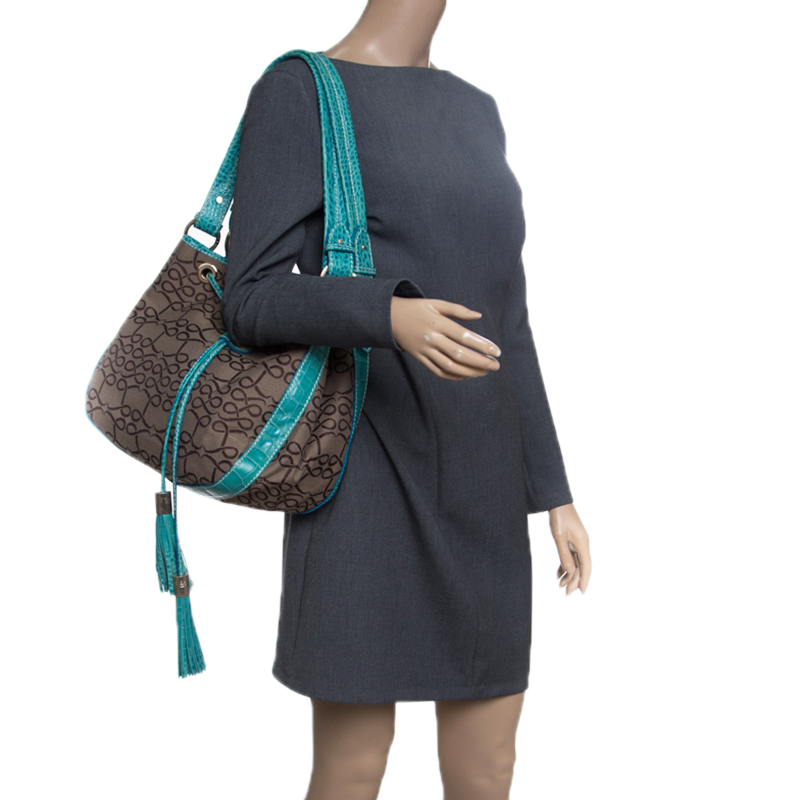 Купить со скидкой Lancel Brown/Aqua Green Signature Canvas and Leather Shoulder Bag