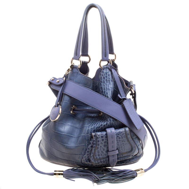 dcb8c9df09 Buy Lancel Blue Croc Embossed Leather Premier Flirt Bucket Bag ...