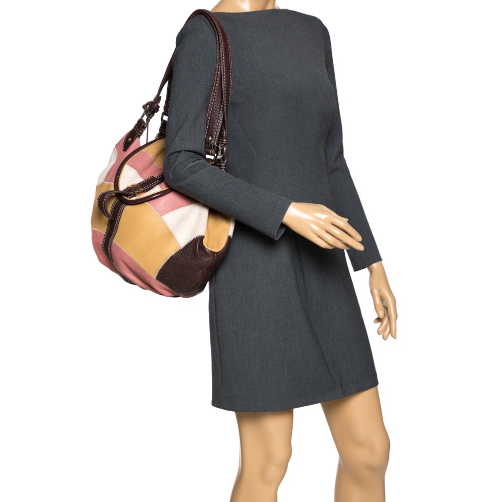 Lancel Multicolor Patches Leather Shoulder Bag