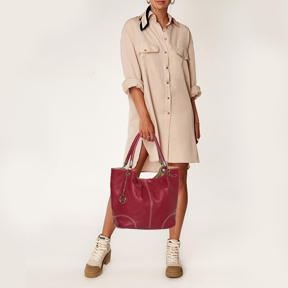 Lancel Red Leather French Flair Hobo