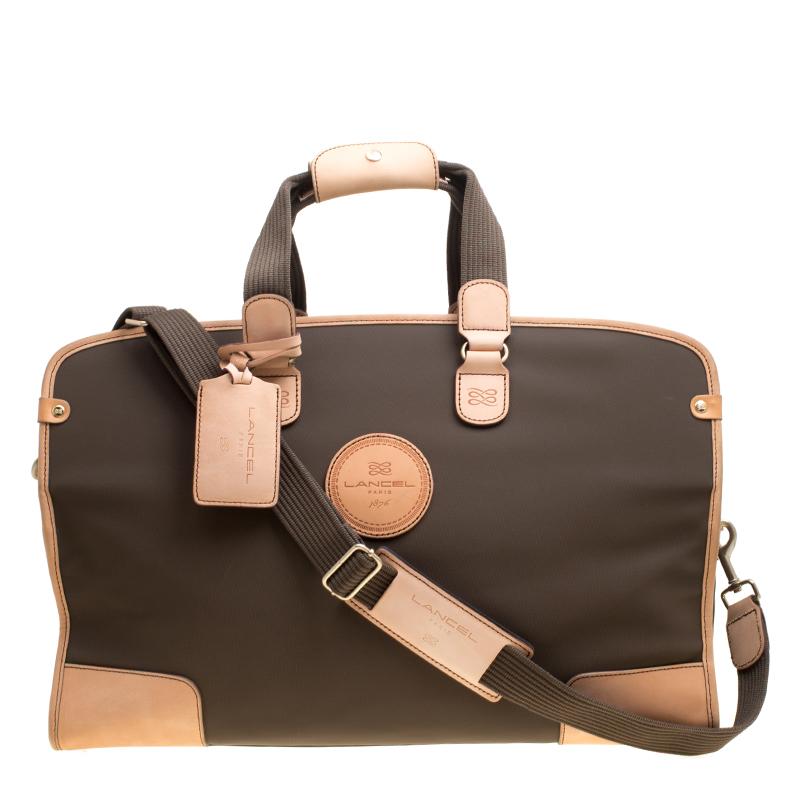 buy lancel brown nylon weekender travel bag 155689 at best price tlc