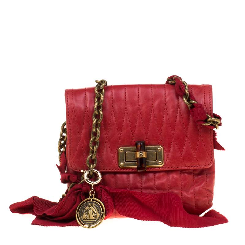 8f03880160a2 ... Lanvin Red Quilted Leather Mini Pop Crossbody Bag. nextprev. prevnext