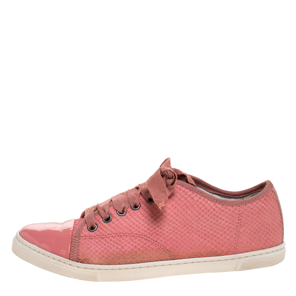 Lanvin Pink Python Effect Leather Lace Up Sneakers Size 38  - buy with discount