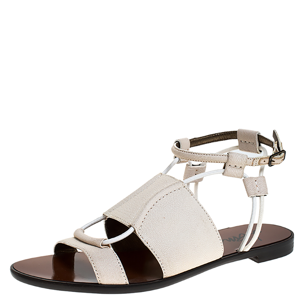 Lanvin Ivory Leather And Elastic Cord Ankle Strap Flat Sandals Size 36 In White