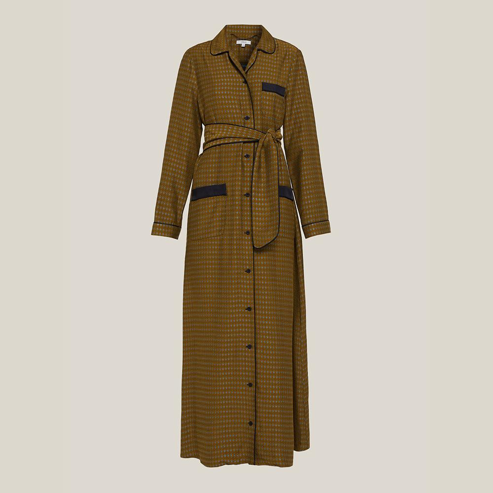 LAYEUR Brown Fitzgerald Printed Button-Down Maxi Dress FR 48