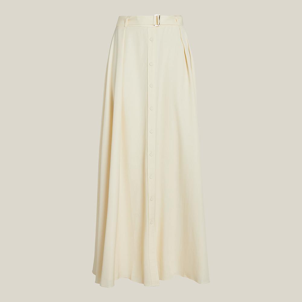 LAYEUR Cream Borden Button Down Maxi Skirt FR 50