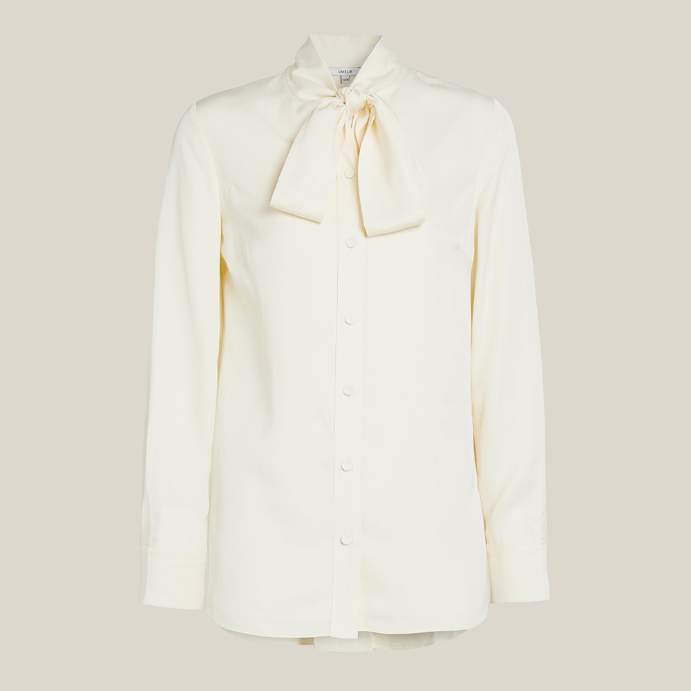 LAYEUR Cream Borden Scarf Collar Button Down Shirt FR 46