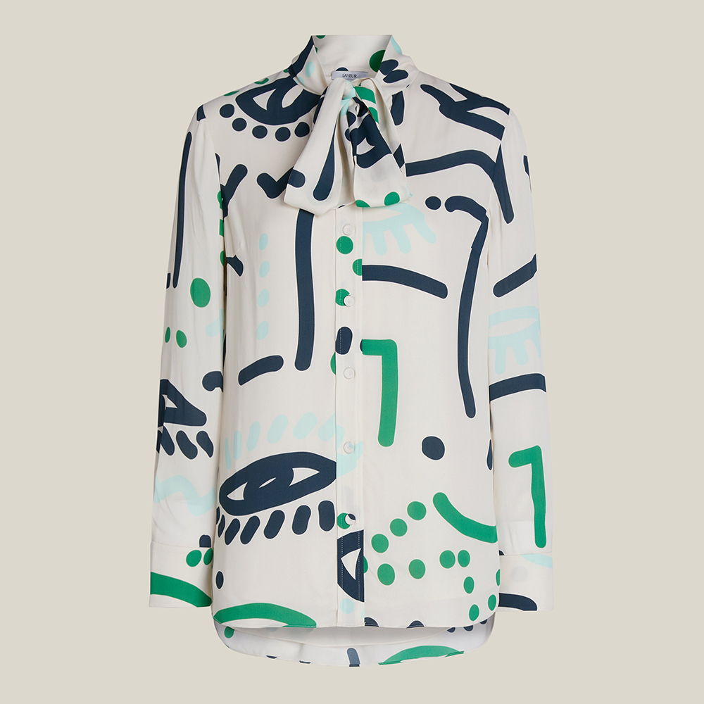 LAYEUR Cream Borden Scarf Collar Printed Shirt FR 48