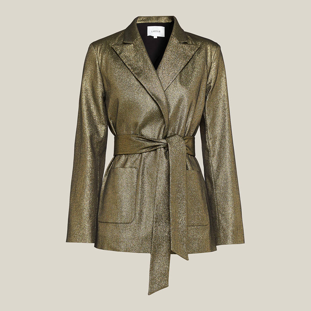 LAYEUR Gold Dench Metallic Cotton-Blend Belted Jacket S