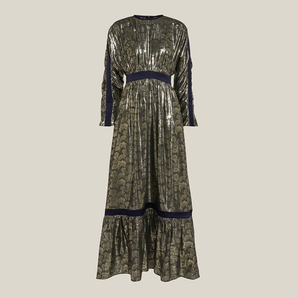 LAYEUR Green Amos Ruffled Hem Metallic Silk-Blend Dress FR 44