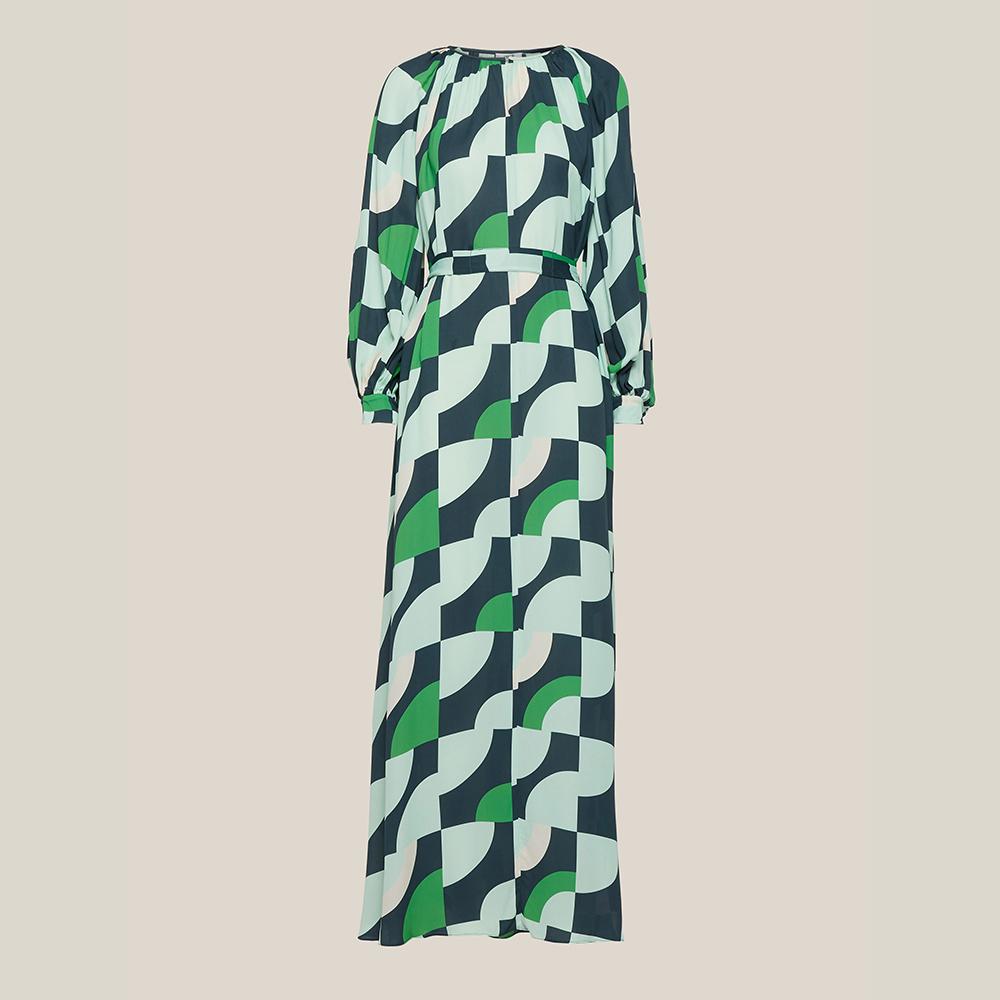 LAYEUR Green Borden Balloon Sleeve Poet Dress FR 44