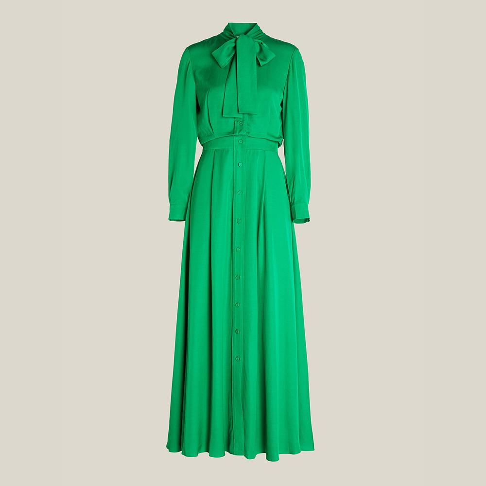 LAYEUR Green Whittle Tie-Neck Button Down Maxi Dress FR 36