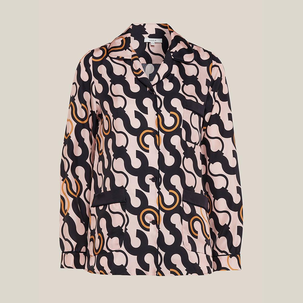 LAYEUR Pink Fitzgerald Printed Silk Pyjama Top FR 48