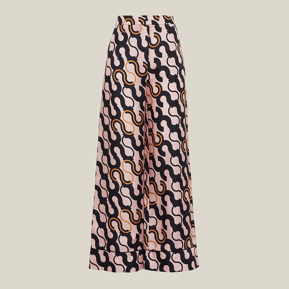 LAYEUR Pink Fitzgerald Printed Wide Leg Trousers FR 46