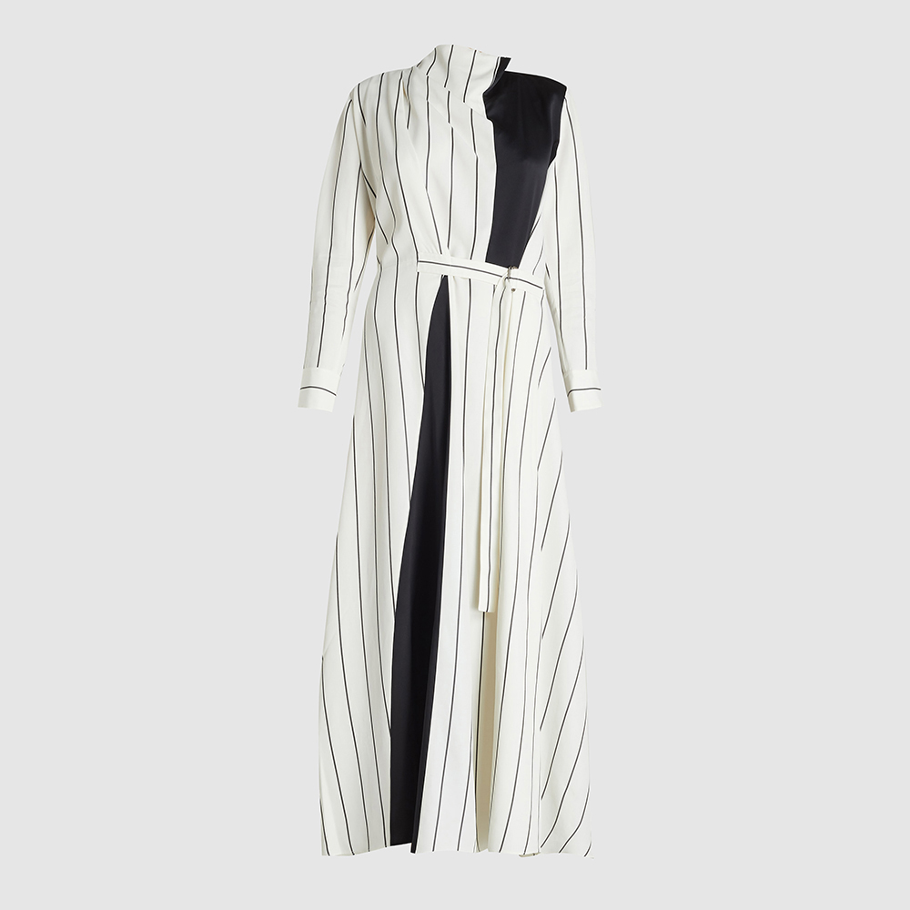 LAYEUR White Bergman Panelled Voile Maxi Dress FR 34