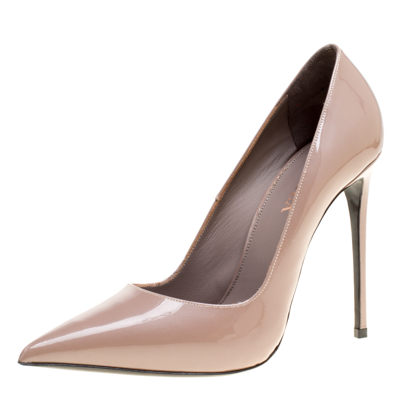 Купить со скидкой Le Silla Beige Patent Leather Eva Pointed Toe Pumps Size 38