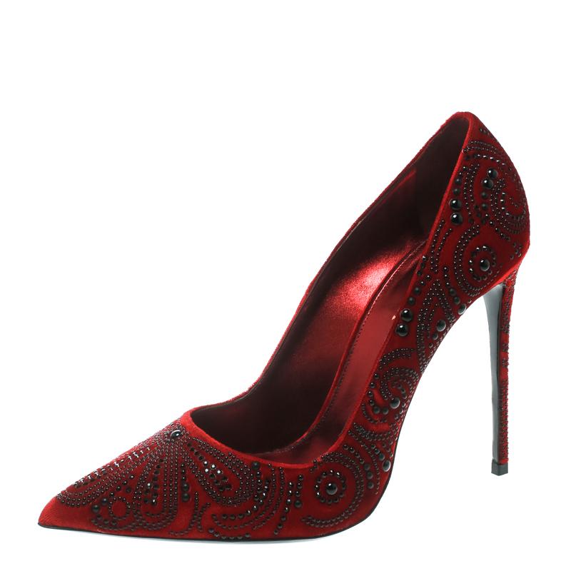 9970043b5731 ... Red Crystal Embellished Velvet Pointed Toe Pumps Size 40. nextprev.  prevnext