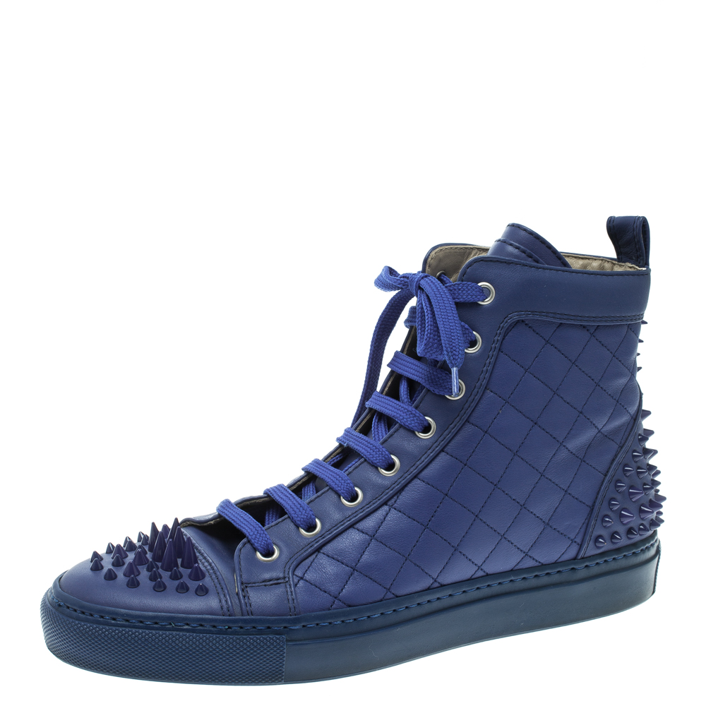 9b1ee28e531d Buy Le Silla Blue Quilted Leather Spike High Top Sneakers Size 37.5 ...