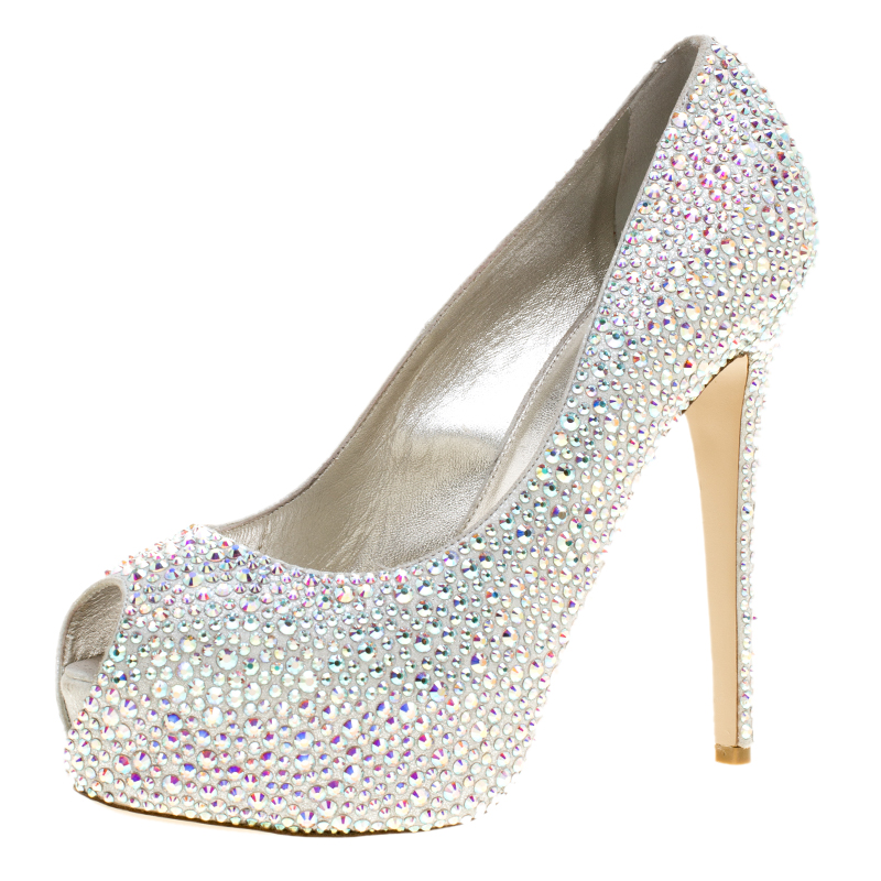 Le Silla Grey Crystal Embellished Leather Peep Toe Platform Pumps Size 38