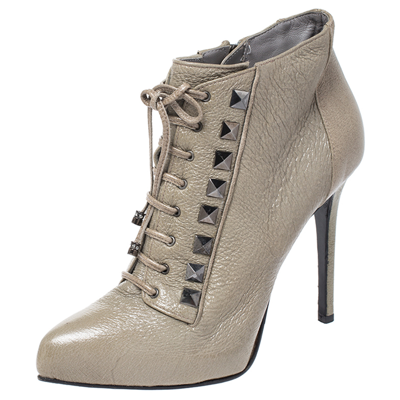 Le Silla Olive Green Leather Studded
