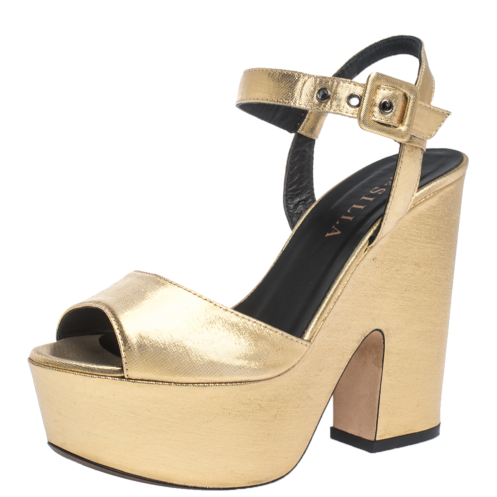 Le Silla Gold Lame Fabric Open Toe Ankle Strap Platform Block Heel Wedge Sandals Size 36
