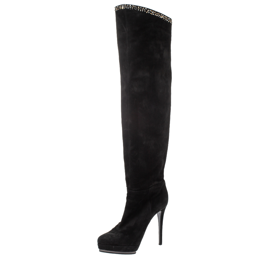 Le Silla Black Nubuck Crystal Embellished Platform Knee High Boots Size 38