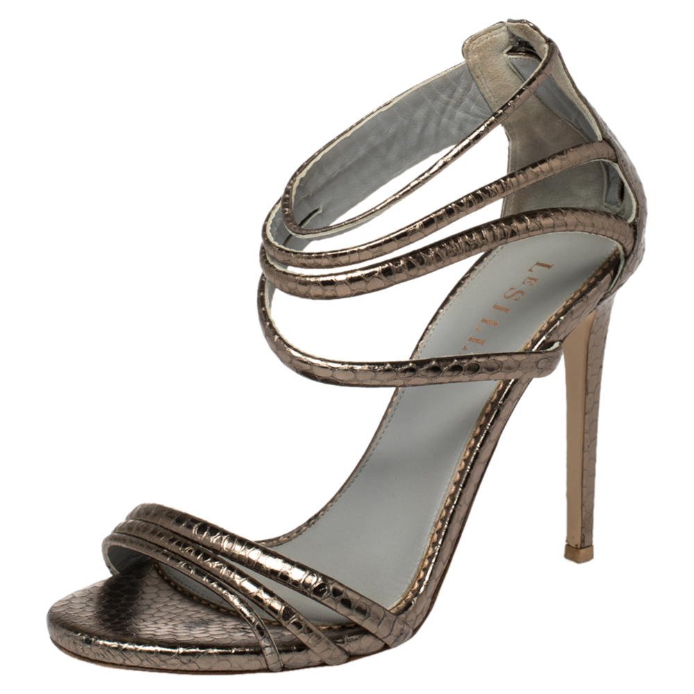 Pre-owned Le Silla Metallic Python Embossed Leather Ankle Strap Sandals Size 38