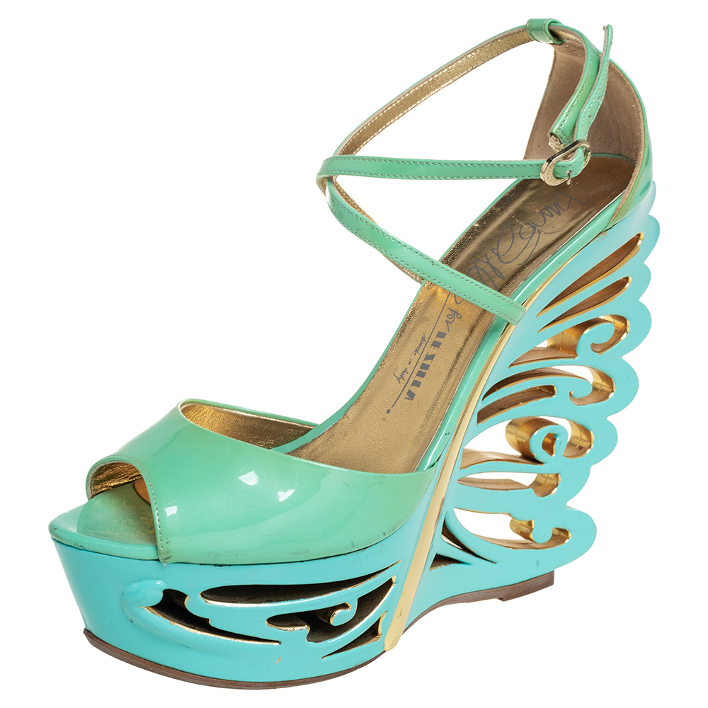 Pre-owned Le Silla Pistachio Green Patent Leather Butterfly Wedge Sandals Size 39.5