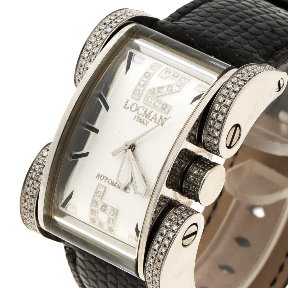 Locman Crème Diamant Latin Lover N. 5396 Lézard en Cuir de Femmes montre-Bracelet 33MM